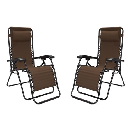 Zero Gravity Beach Chairs (Caravan Canopy Portable Adjustable Infinity Zero Gravity Chair, Brown (2)
