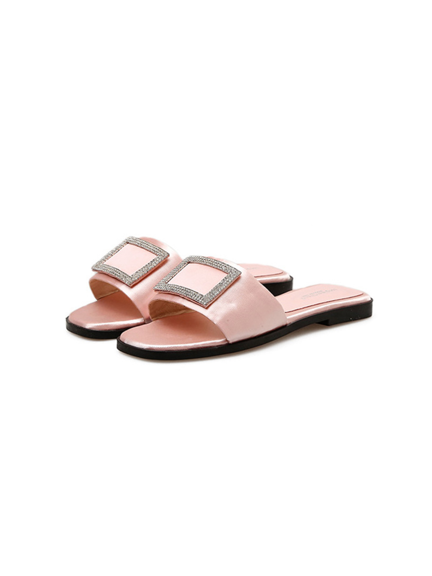 Details about  /Women/'s Rhinestone Sandals Chunky Heels Open Toe Slipper Casual Shoes Slip On