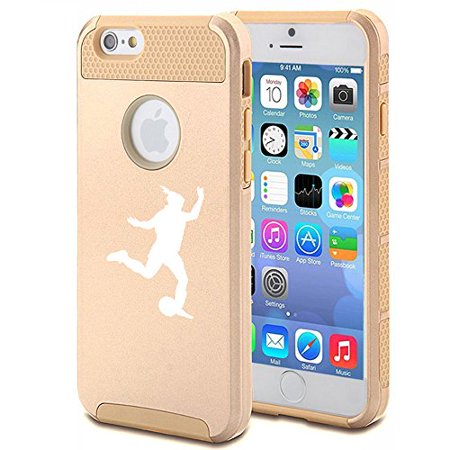 For Apple iPhone 7 Shockproof Impact Hard Soft Case Cover Female Soccer Player (Gold)
