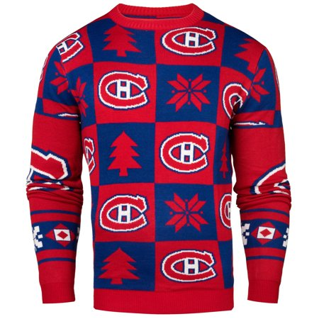 newest d4421 402e7 Montreal Canadiens NHL Patches Ugly Crewneck Sweater - Klew ...