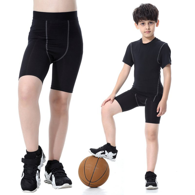 Youth Kids Boys Quick-drying Compression Base Layer Skins Tights Shorts Mid Thigh by