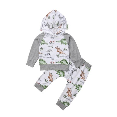 Baby Boy Halloween Dinosaur Long Sleeve Hooded Sweatshirt 2 Pcs Outfit Set (Halloween Outlets)