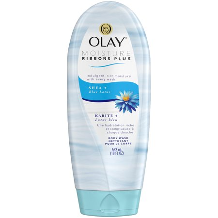 (3 pack) Olay Moisture Ribbons Plus Shea + Blue Lotus Body Wash, 18 fl oz (Olay Moisture Body Wash)