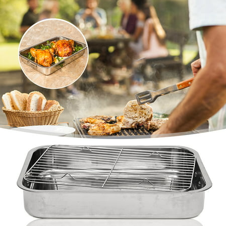 Mrosaa Stainless Steel Deep Roasting Lasagna Pan Roaster & Rack For Chicken Turkey Meat Joints & Veg