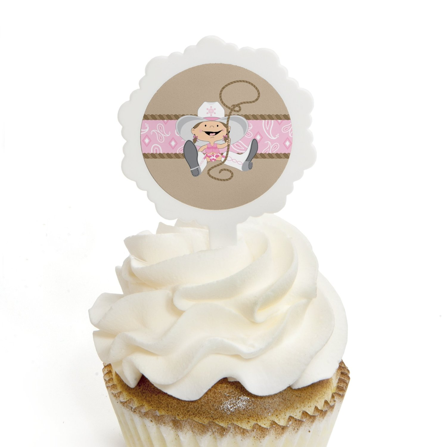 Little Cowgirl - Western Cupcake Picks with Stickers - Baby Shower or Birthday Party Cupcake Toppers - 12 Count