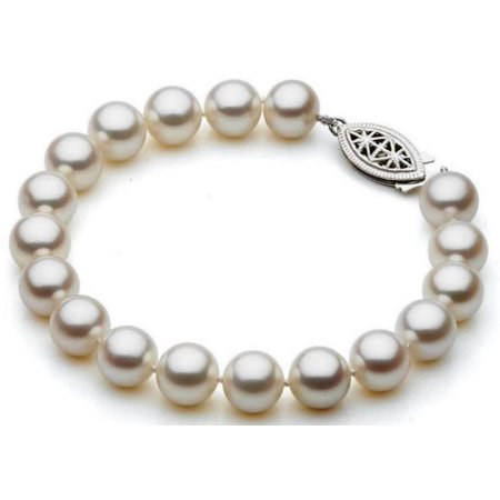 Genuine 8.5-9mm White Freshwater Cultured Round Pearl 7 Inch Bracelet In 925 Sterling Silver