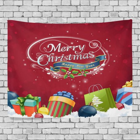 - POPCreation Merry Christmas Wall Tapestry Xmas Wine Red Gift Box Home Decor Tapestry Wall Hanging for Dorm Throw Living Room 40x60 inches