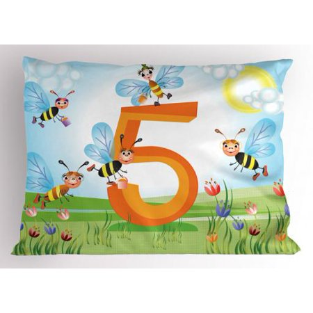 Honey Bee Baby Nursery - Number Pillow Sham Happy Bees Making Honey in Five Sign in Tulip Garden Field Kids Nursery Cartoon, Decorative Standard Size Printed Pillowcase, 26 X 20 Inches, Multicolor, by Ambesonne