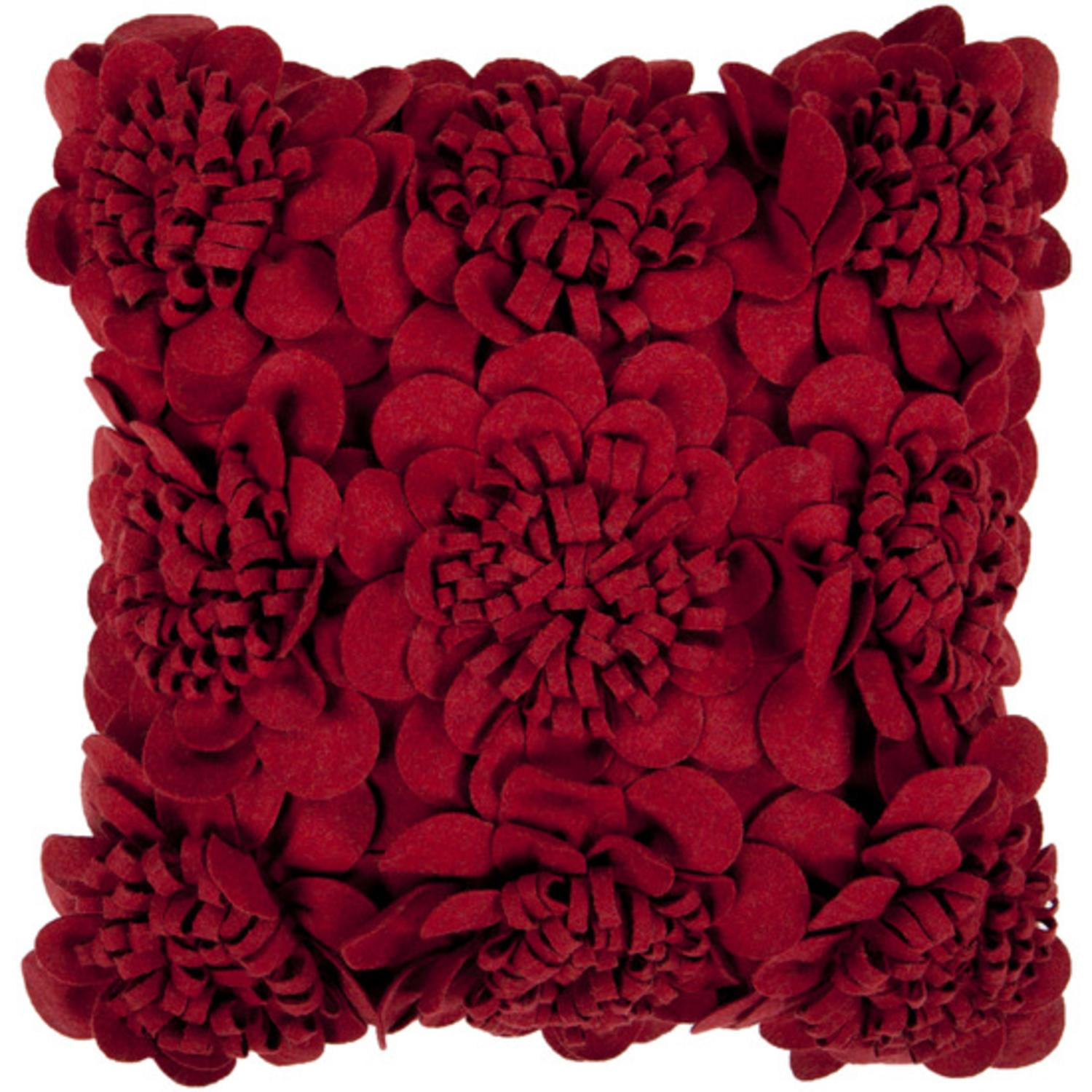 "22"" Dark Maroon Red Dimensional Applique Mums Decorative Down Throw Pillow"