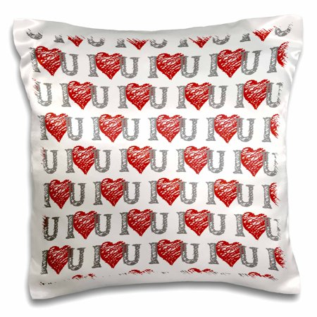 3dRose I Love You Hearts and Scribbles in red and grey, Pillow Case, 16 by 16-inch ()