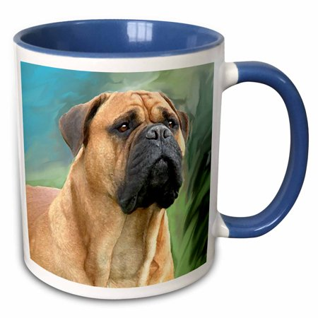 - 3dRose Bullmastiff - Two Tone Blue Mug, 11-ounce
