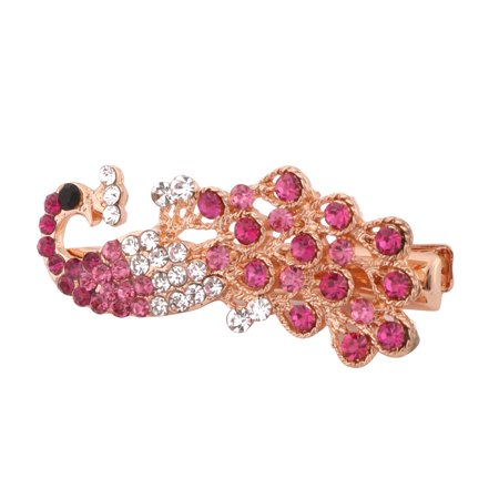 Ladies Wedding Metal Faux Rhinestone Headwear Hairpin Hair Clip Clasp Fuchsia