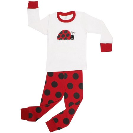 Elowel Baby Girls Black Red Lady Bug Dot Cotton 2 Pc Pajama Set