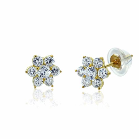- 14K Solid Yellow Gold Round CZ Cluster Flower Screw Back Stud Earrings