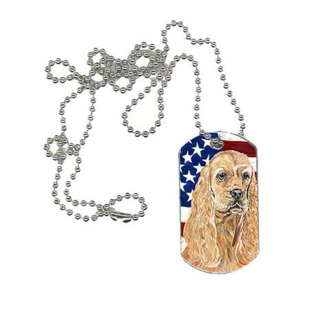Carolines Treasures SC9514DT Cocker Spaniel Buff USA American Flag Dog Tag - 4.13 x 1.88 in.