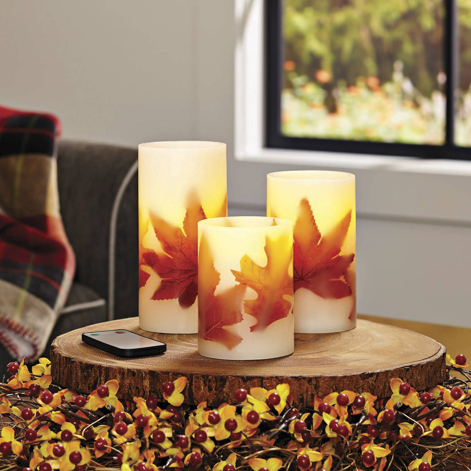 Better Homes and Gardens 3-Pack LED Pillar Candles, Leaves