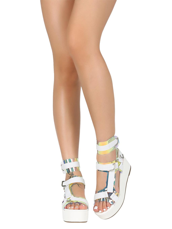 Women Open Toe Strappy Elastane Harness