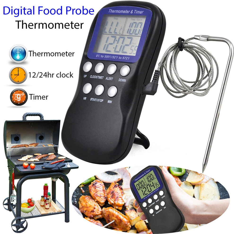 Digital Food Probe Oven Thermometer Timer Temperature Sensor Cooking Baking