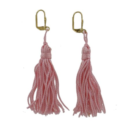 Light Pink Tassel Dangle Gold Tone Pierced Lever Back Earrings 3
