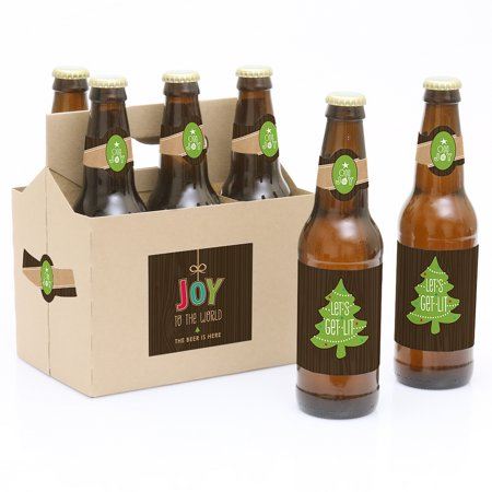 Rustic Joy - Holiday & Christmas Party Decorations for Women and Men - 6 Beer Bottle Label Stickers and 1 Carrier Our Trim The Tree - 6 Holiday Beer Bottle Labels with 1 Beer Carrier are the perfect for Christmas, Holiday Parties. This set comes with a craft paper carrier and with 6 beer bottle labels that are printed on sticker paper that is waterproof. Apply labels to room temperature bottles. Apply beer bottle labels either after removing original label for best results or put over existing labels if you choose. Chill after you are done applying labels. For the two larger labels that are left over apply to the front and back of paper carrier. Use the two smaller ones to put on each end of the paper carrier to give you the completed look. (Beer in image is obviously NOT included).Set of 6 will decorate 6 bottles and 4 labels for decorating the kraft paper carrier. The main sticker label is 3.5  x 3  and the collar/neck sticker label is 3.5  long x 1.5  wide at the center. Labels are printed on sticker paper that is waterproof.Apply labels to room temperature bottles. For best results apply the labels to the bottle after removing the original label. They will also work by placing the labels over the existing label. Chill after you are done applying labels. (Soda/Beer in image is NOT included).