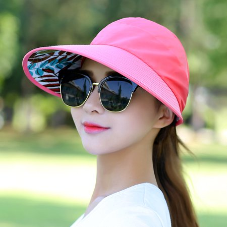 Womens Visor Hat UPF 50+ Sun Protective Sun Hat Large Brim Summer Beach Hat (Deep pink)