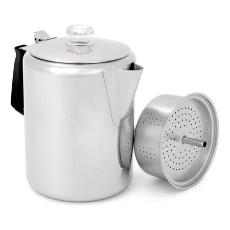 - GSI Outdoors 65206 Glacier Stainless Percolator with Silicone Handle, 6-Cup