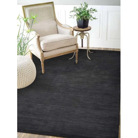 Rugsotic Carpets Hand Knotted Gabbeh Wool 8'x11' Area Rug Solid Charcoal -