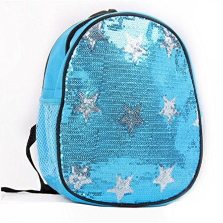Lil Princess Dance Bag- Solid Sequin Front with Stars Backpack, - Lil Princess