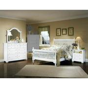 Slat Poster Bed w Nightstand & Dresser Set in Snow White Finish (Full)