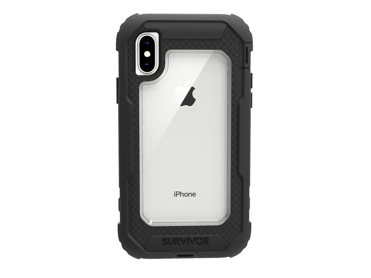 Griffin, iPhone X Rugged Case, Survivor All-Terrain with Belt Clip, Impact Resistant, 10 ft drop protection, Black Clear by Griffin Technology