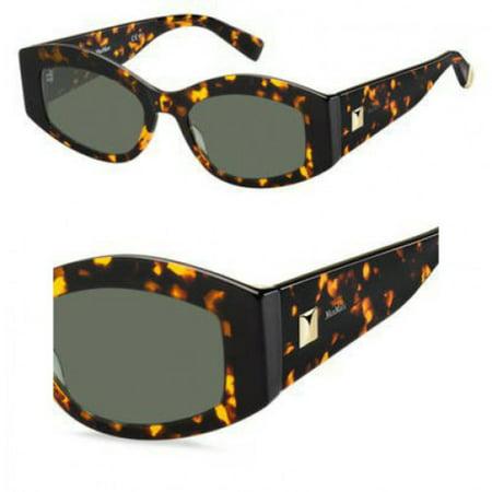 Sunglasses Max Mara Mm Iris 0086 Dark Havana / QT green - 57 Light Havana Sunglasses
