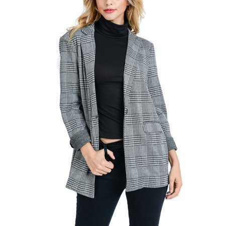 KOGMO Womens Plaid Checker Single Button Blazer Boyfreind Relaxed Fit