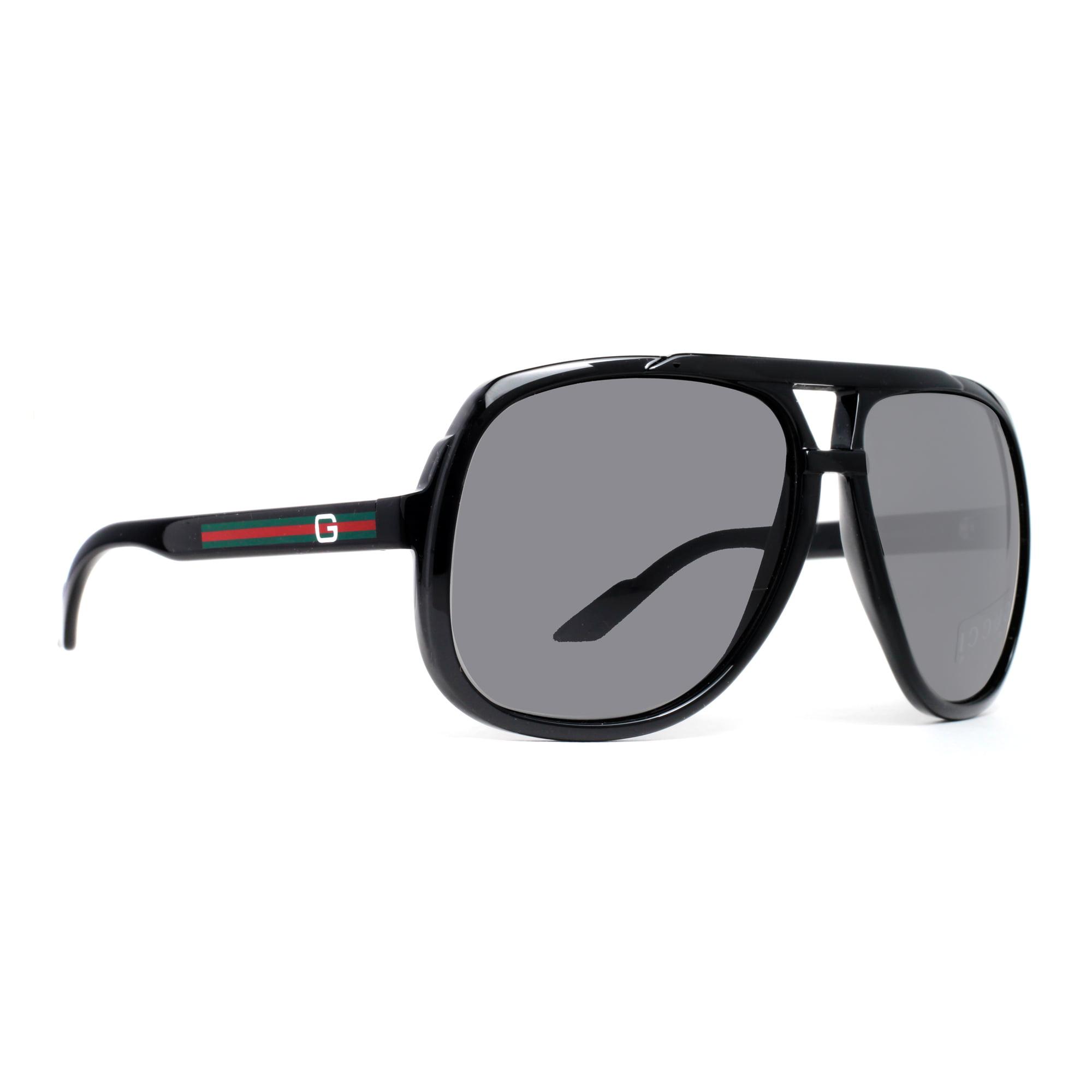 1ccd280d608 GUCCI - Gucci GG 1622 S D28 R6 Shiny Black Grey Square Aviator Sunglasses -  Walmart.com