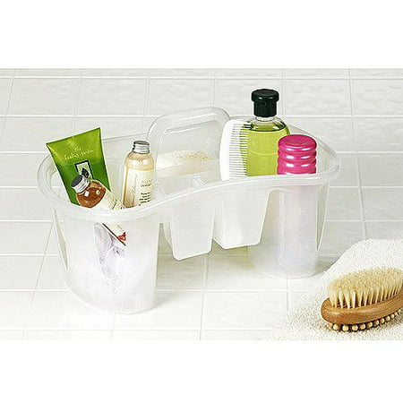 Unique Compartmentalized Bath Caddy, Iced White