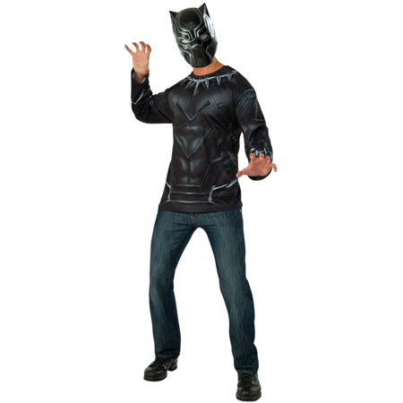 Mens Marvel Civil War Superhero Black Panther Shirt And Mask Costume - Mens Superhero Costumes