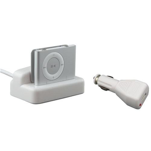 Insten White Sync Charging USB Dock Cradle+Car Charger for iPod shuffle 2nd Gen 2 G USA