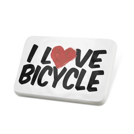 (Porcelein Pin I Love Bicycle Lapel Badge – NEONBLOND)