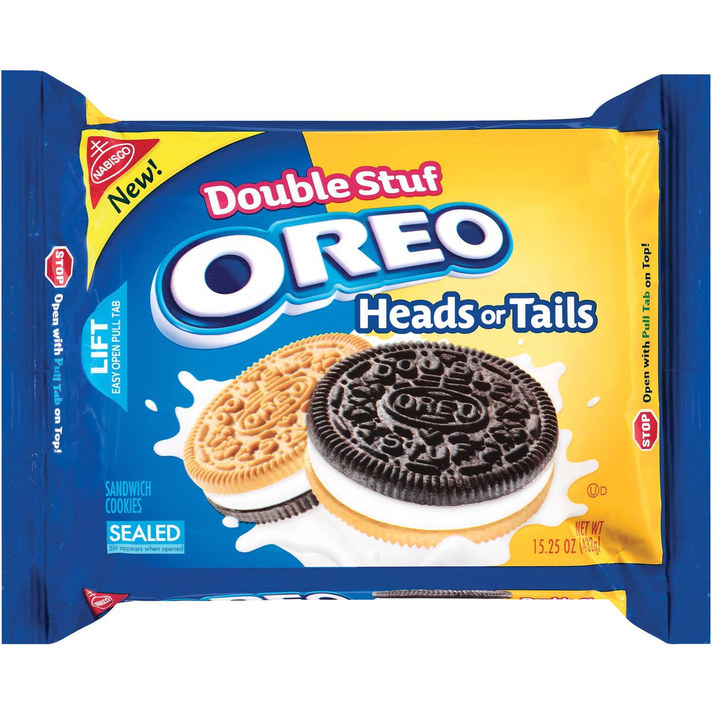 Nabisco Double Stuf Oreo Heads Or Tails Sandwich Cookies, 15.25 oz