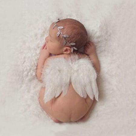 Baby Angel Wings (Newborn Baby White Angel Wings Headband Costume Photo Photography Props)