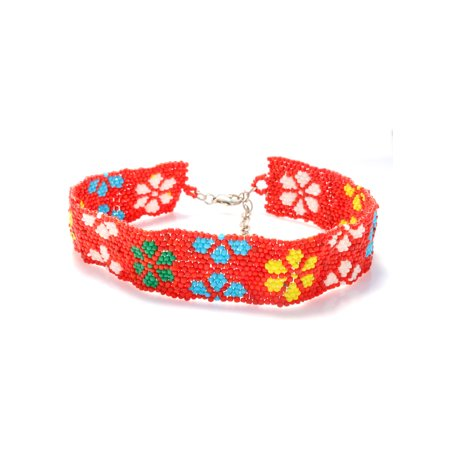 TAZZA WOMEN'S MULTI COLORED FLOWER SEED BEAD CHOKER NECKLACES
