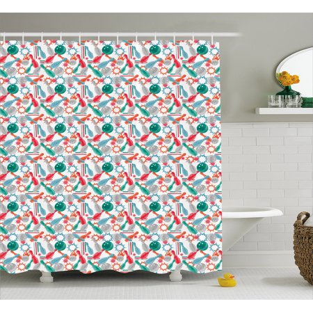 Bowling Shower Curtain Abstract Colorful Design Elements With Color Splashes And Lines On White Backdrop Fabric Bathroom Set Hooks 69W X 84L Inches