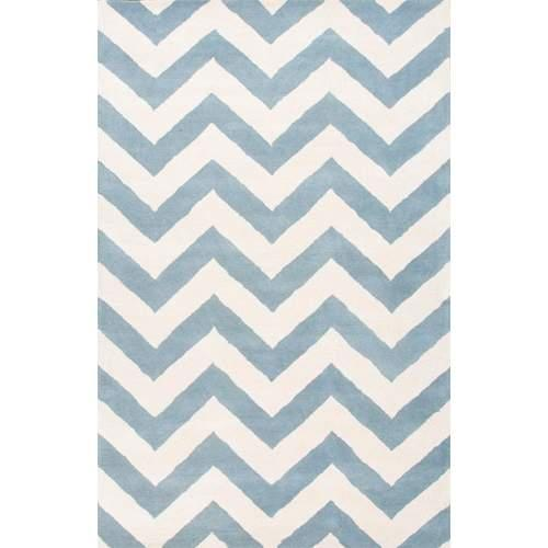 Contemporary Chevrons Pattern Blue/Ivory  Wool Area Rug (2x3)