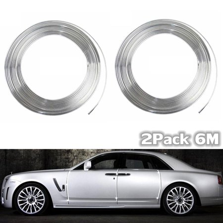 2pcs 20FT Chrome Moulding Trim Strip Roll For Car Door Edge Scratch Guard Bumper Grille Interior Protector Cover Universal Vehicle SUV Van  US