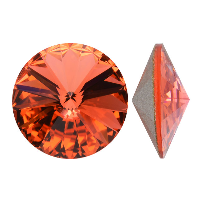 Swarovski Crystal, #1122 Rivoli Fancy Stones 14mm, 2 Pieces, Padparadscha Sf