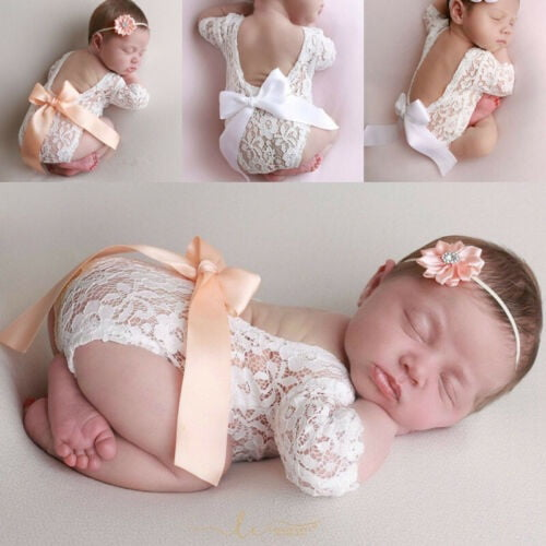Newborn photography outfit Newborn  photo props ARIA Lace romper with bow for baby girl  Newborn  photo shoot