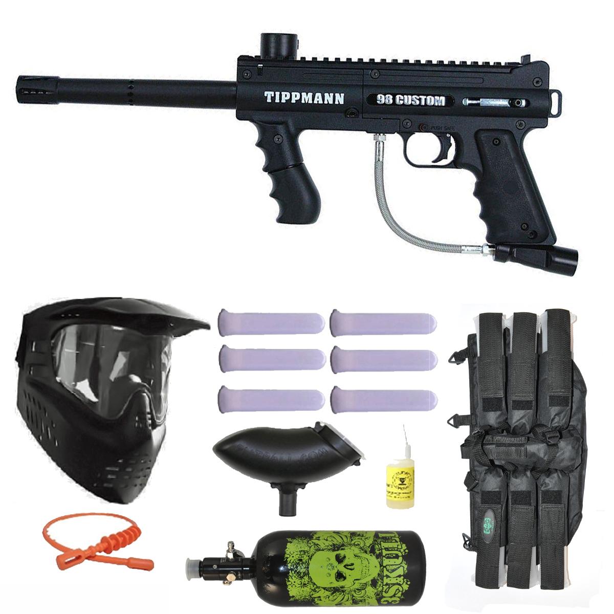 Tippmann 98 Custom PS Paintball Marker Gun 3Skull N2 Mega Set by
