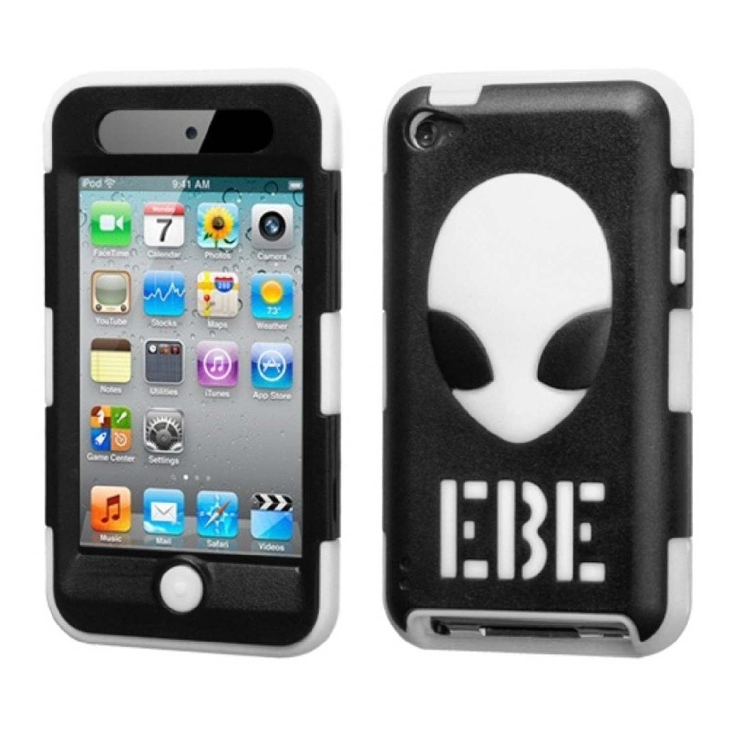 Insten Natural Black/White AlienHead Hybrid Rugged Hard Shockproof Case For iPod touch 4th generation