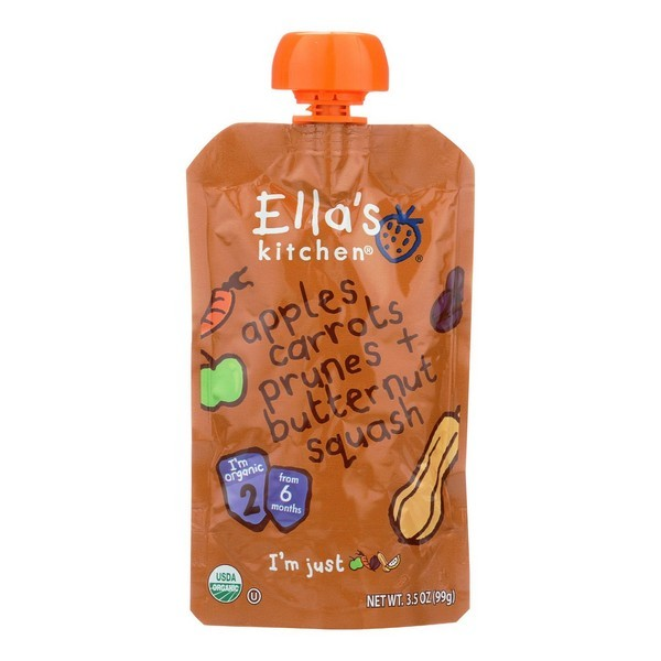 Ella's Kitchen Baby Food - Apples Carrots Prunes Butternut - Pack of 12 - 3.5 Oz.