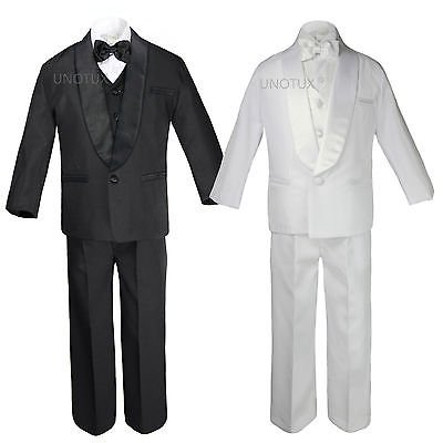Baby Kid Teen Wedding Black White Pick Formal Shawl Lapel Tuxedo Boy Suit S-20 - Black Boys Suits
