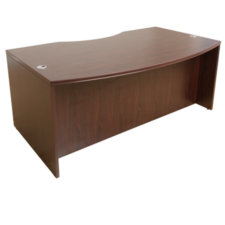 Boss Office Products Curve Mahogany 71 inch Light Bow Front Desk Shell